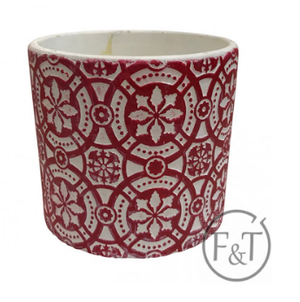 Cement Flower Pot - Red Celtic Pattern
