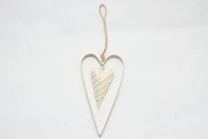 Double Metal Heart - Silver & Ivory