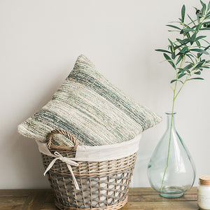 Dusty Green Woven Cushion Rug Cover with Zipper