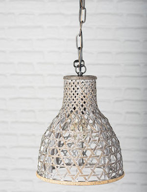 Wooden Basket Shade Pendant Lamp - Grey