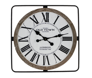 Old Town Wall Clock - Metal and Wood Frame