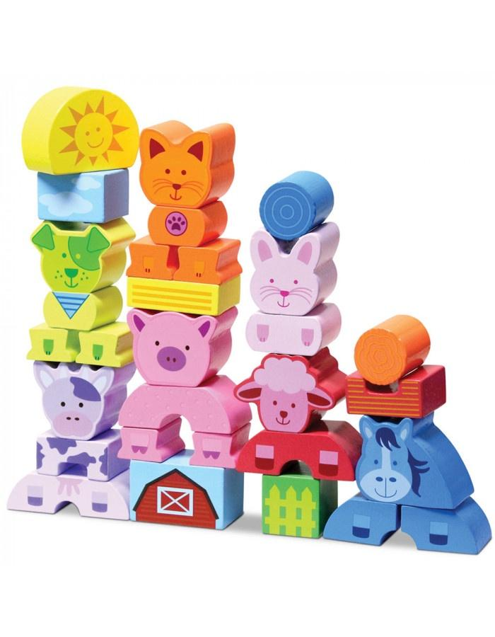 First Farm Animal Wooden Blocks 20pcs