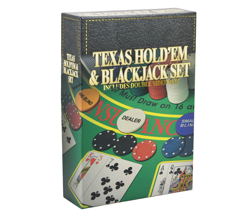 2 in 1 Texas Holdem Poker & Blackjack Set