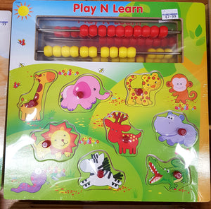 Play N Learn Wooden Peg Puzzle Zoo Animals
