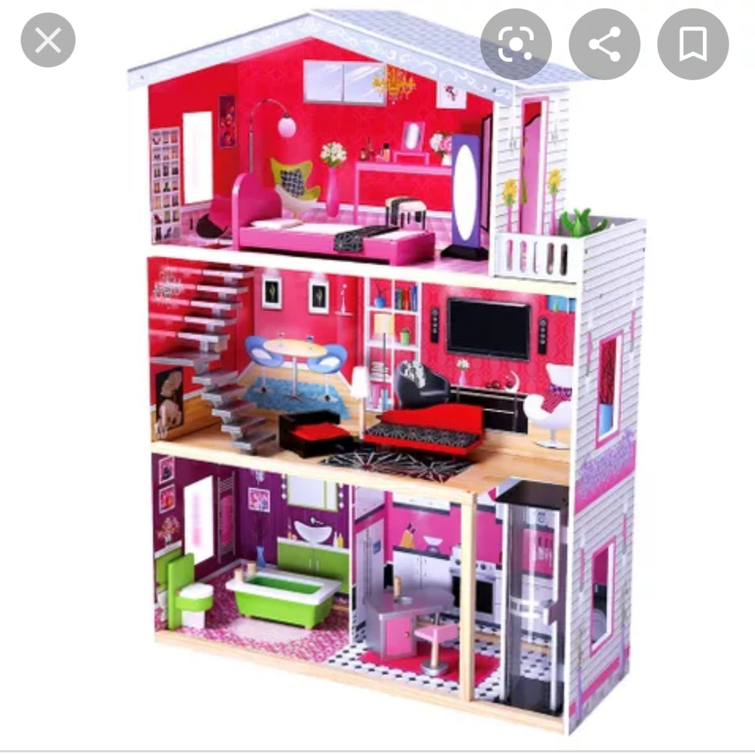 Isabella Dolls House 4ft with furniture