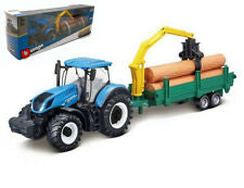 Burago New Holland Tractor with Wood Trailer 1:50