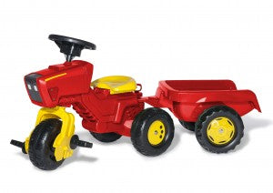 Rolly Red 3 Wheel Tractor & Trailer with sounds in steering wheel