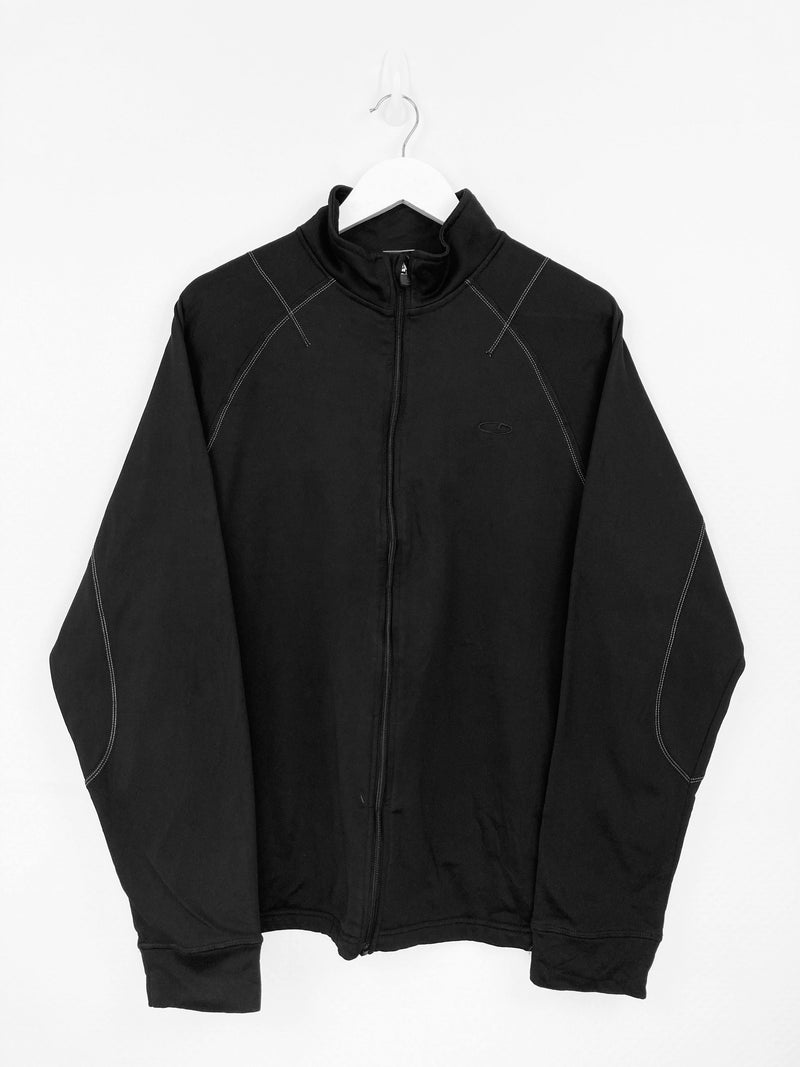 Vintage Champion Logo Zip Sweater L - Black - ENDKICKS