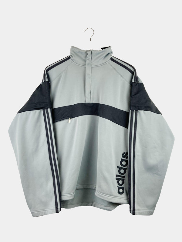 Vintage Adidas 1/4 Zip Spellout Sweater L - Grey