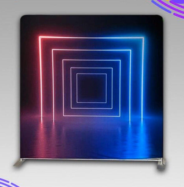8' X 8' Neon Lights Wrinkle Free Backdrop With Frame Stand Kit