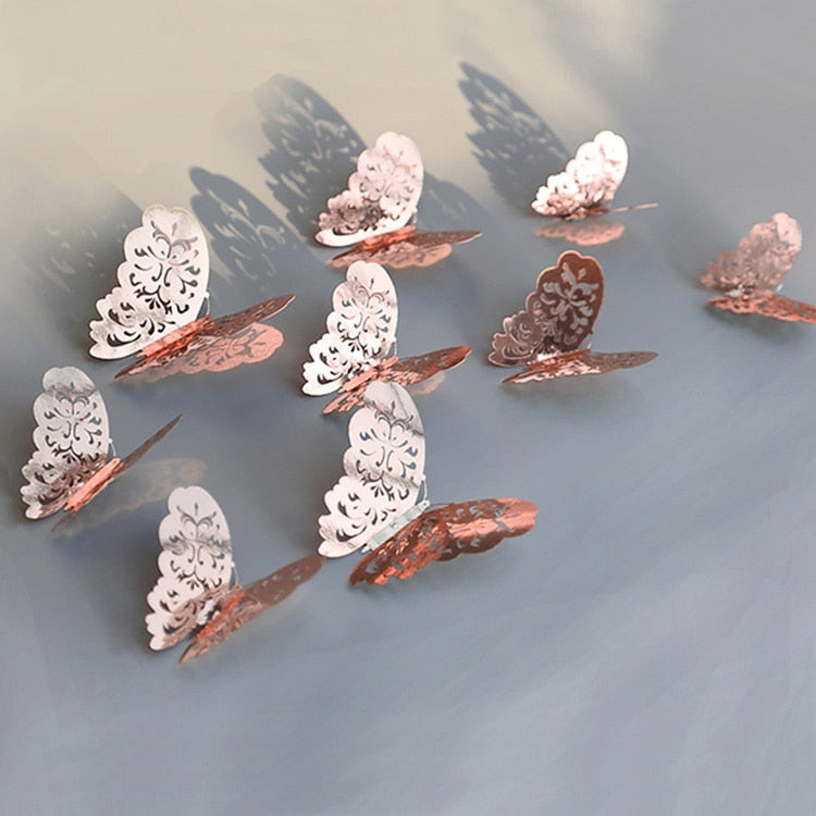 12 PCs 3D Butterfly Wall Sticker (metal style)
