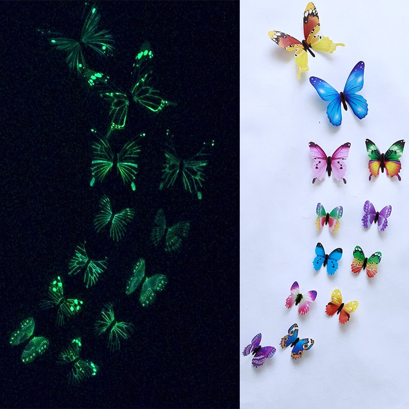 12Pcs  set Luminous butterfly Wall Sticker living room