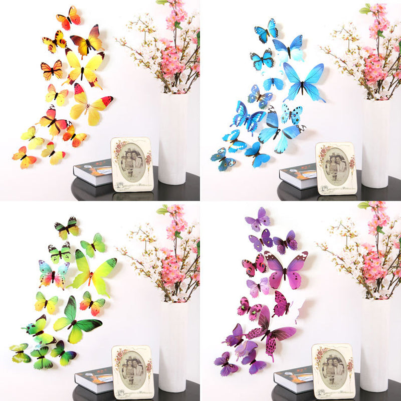 12Pcs Colorful Butterflies Wall Sticker