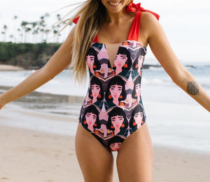 Face/Red - Large Bow Swimwear - Monokini Swin