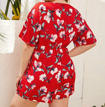 Load image into Gallery viewer, Plus Size -  Floral Print Batwing Sleeve Romper
