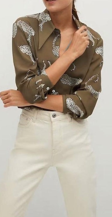 Cheetah Satin Blouse