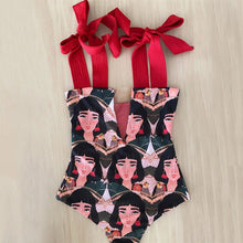 Load image into Gallery viewer, Face/Red - Large Bow Swimwear - Monokini Swin