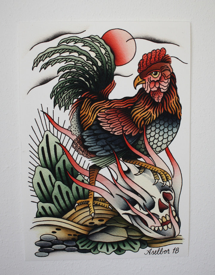 """Rooster"" - Anton Aselbor - Beyond Tradition -Tattoo print"