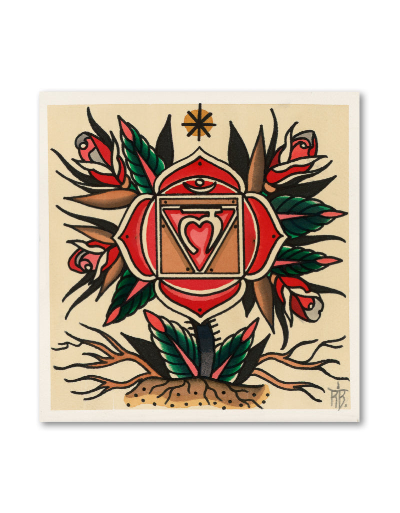"""7 Chakras Flower Power Kundalini Set"" -  Ronja Block - Tattoo Art Prints"