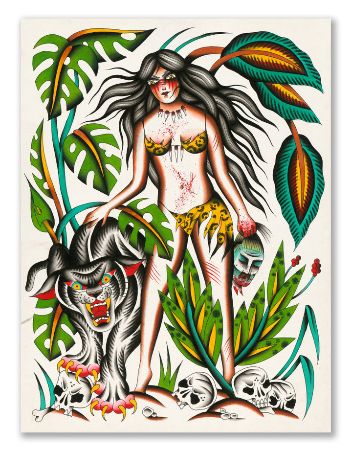 """Wild Woman"" - Sara Kaltenhäuser - Tattoo Art Print"