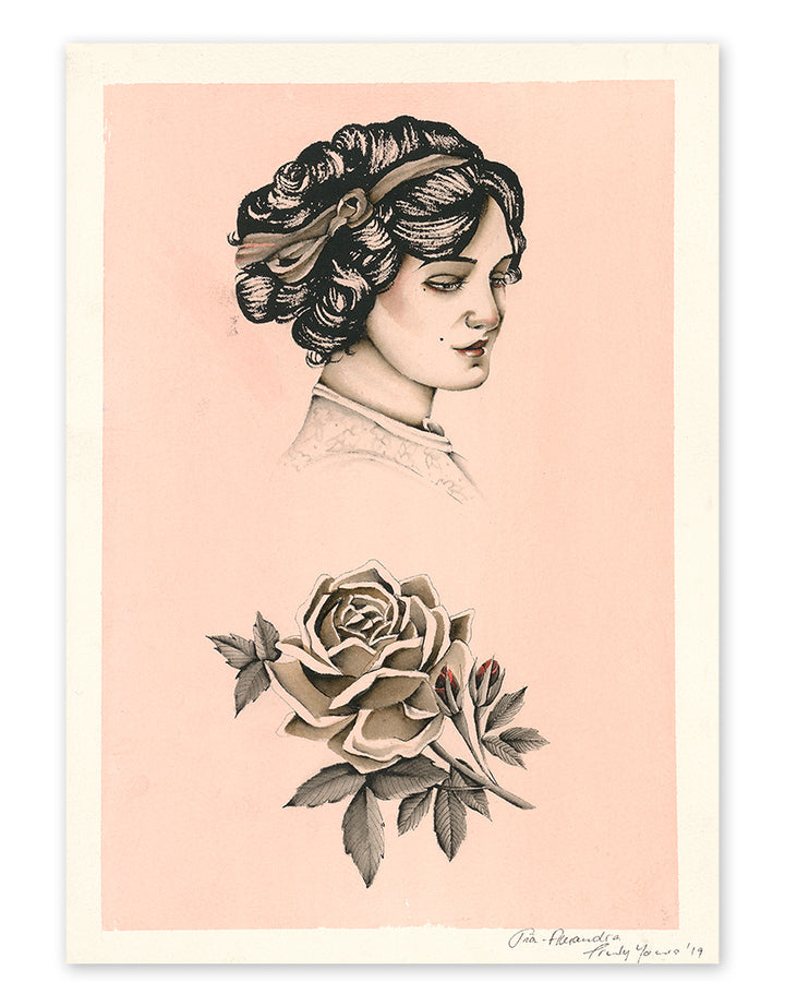 """No rose without a thorn"" - Pia Alexandra - Fine Art Tattoo Print - Beyond Tradition -Tattoo print"