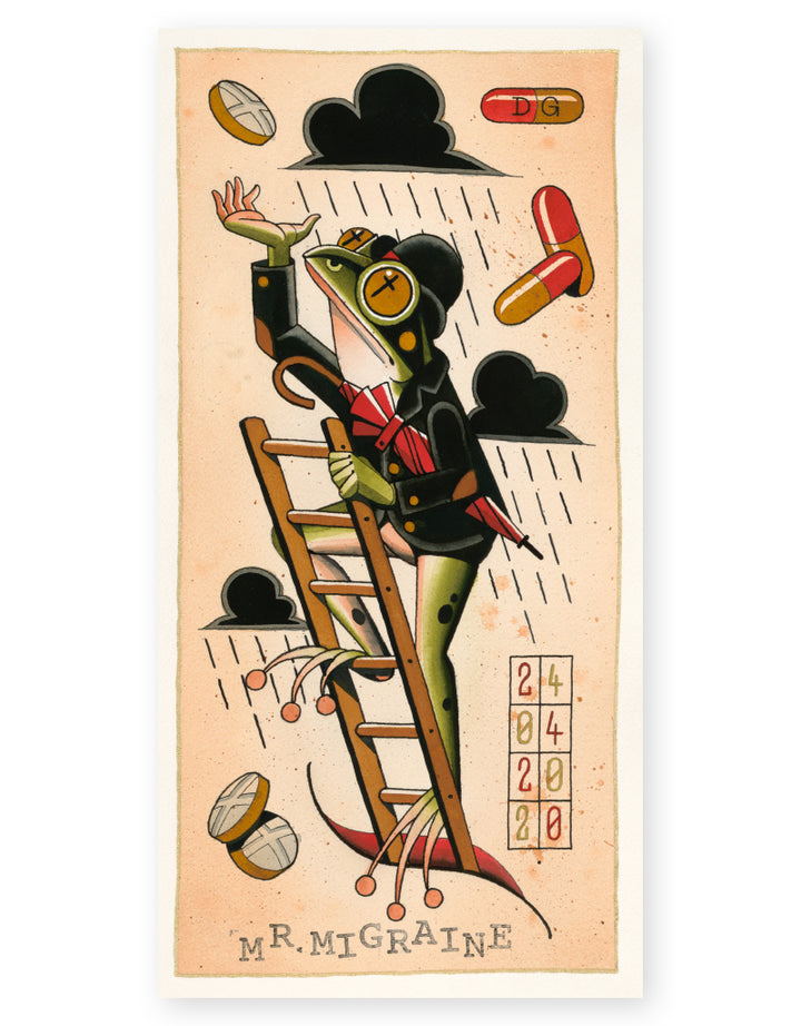 """Mr. Migraine"" - Daniel Gensch - Fine Art Tattoo Print"