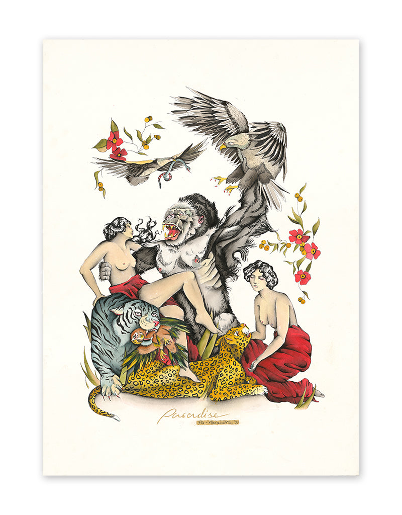 """Paradise"" - Pia Alexandra - Fine Art Tattoo Print - Beyond Tradition -Tattoo print"