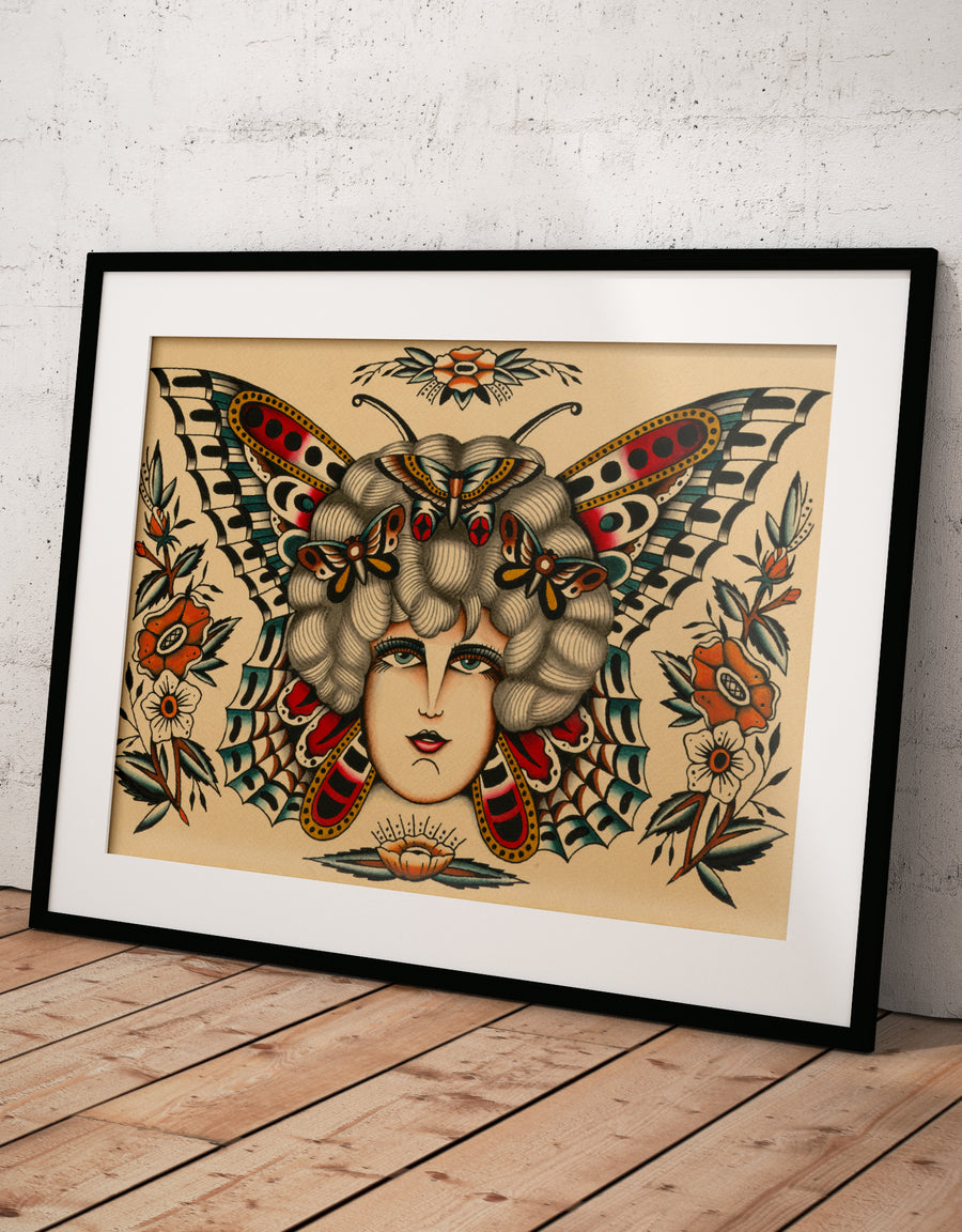 """Butterflies"" - Sascha Friederich - Tattoo Art Print"