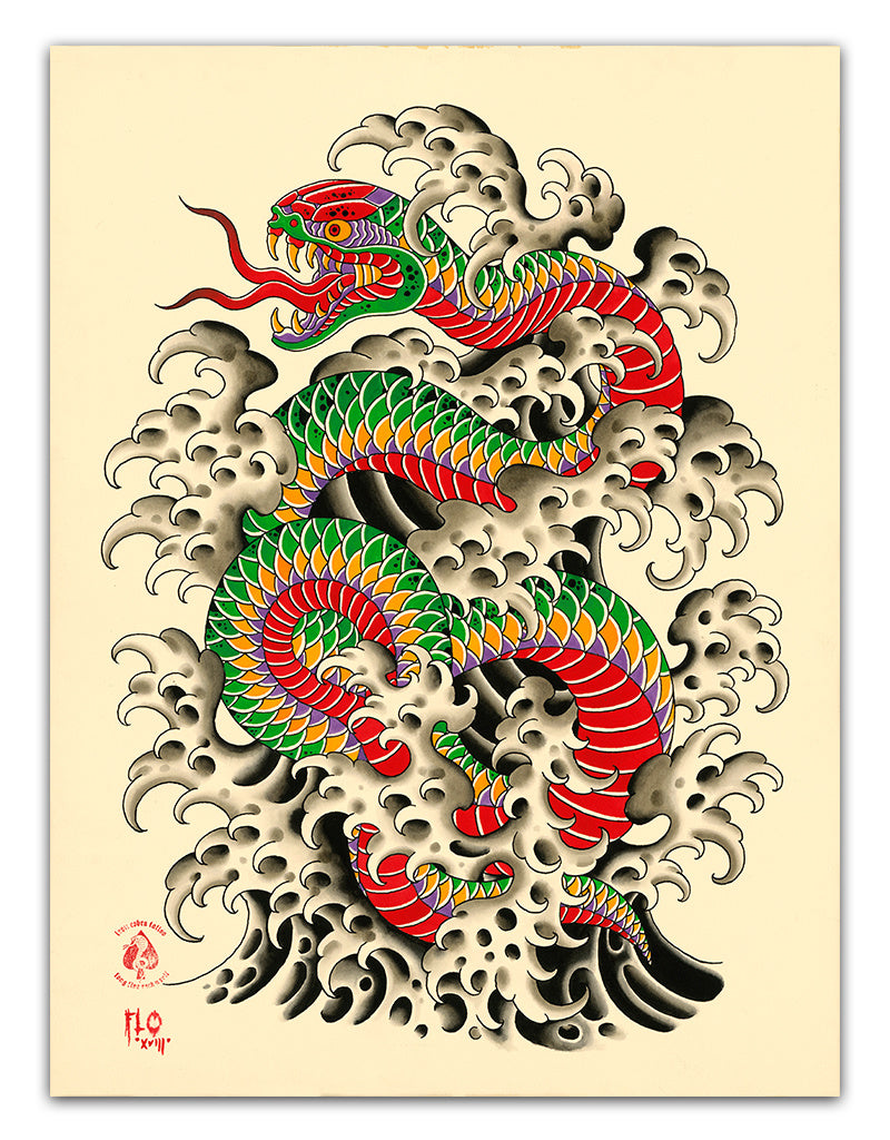 Snake 'n' Waves - Flo Kraemer - Beyond Tradition -Tattoo print