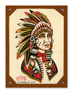 """Indian Chief"" - Sascha Friederich - Beyond Tradition -Tattoo print"
