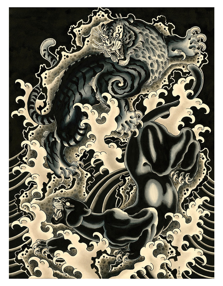 Panther vs Tiger - Flo Kraemer - Beyond Tradition -Tattoo print