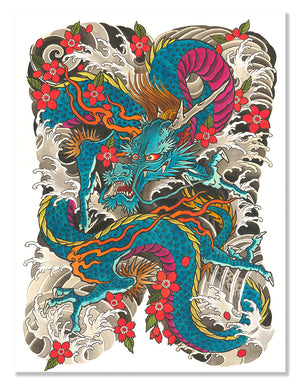 Ryu & Sakuras - Leo Barada - Beyond Tradition -Tattoo print