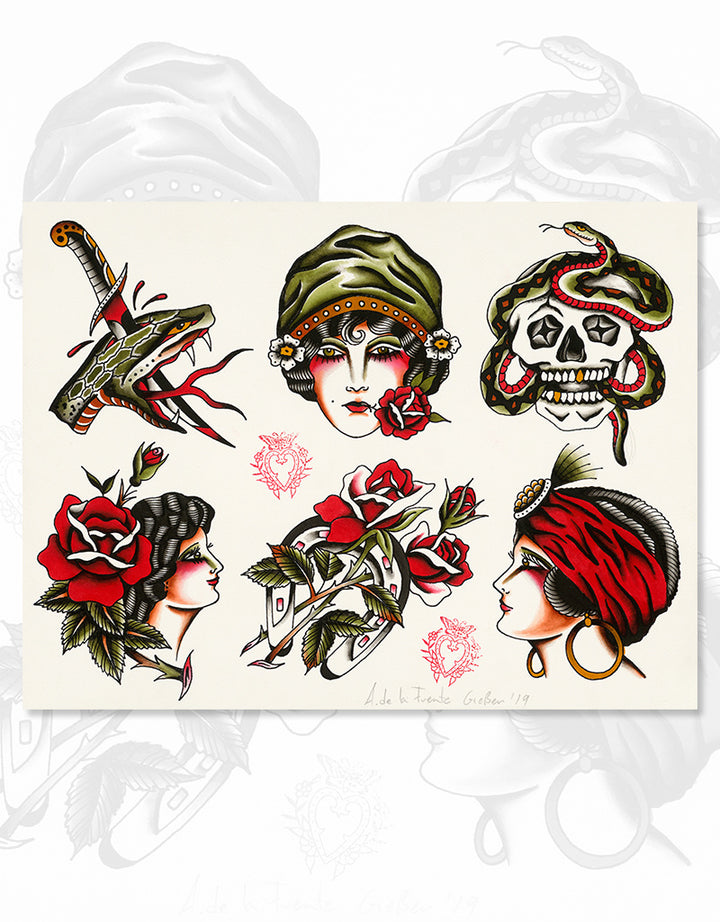 """Classic Flash - No. 1"" - Adrian de la Fuente - Beyond Tradition -Tattoo print"