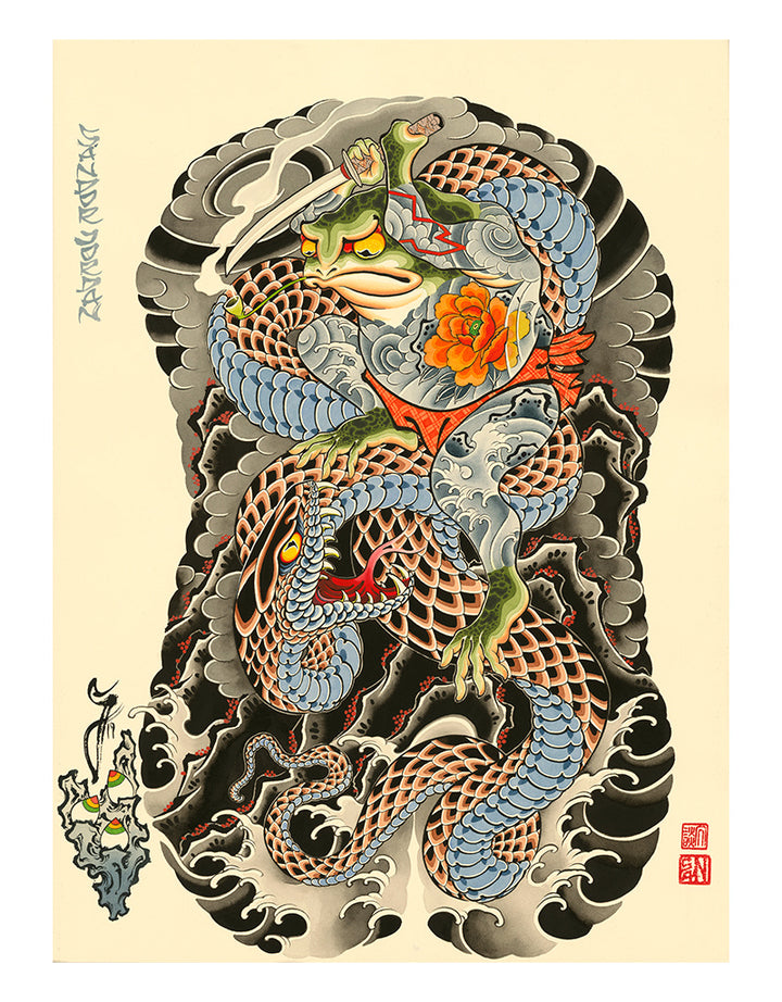 Audacious Frog Backpiece - Sandor Jordan - Beyond Tradition -Tattoo print