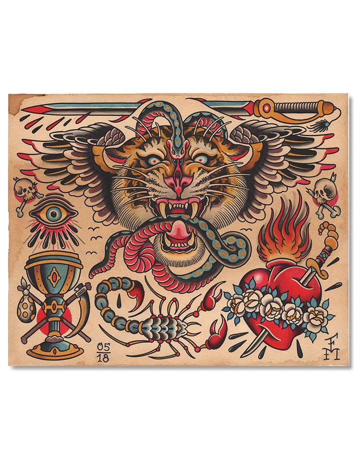 """Tiger Flash"" - Falk Malisch - Beyond Tradition -Tattoo print"