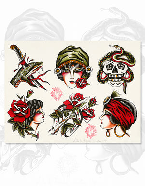 """Classic Flash - Set of 5"" - Adrian de la Fuente - Beyond Tradition -Tattoo print"