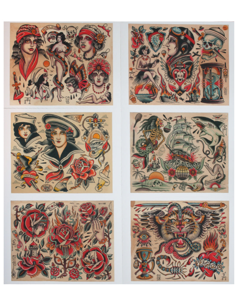 """All those beauties"" - Set of 6 Flash - Falk Malisch - Beyond Tradition -Tattoo print"