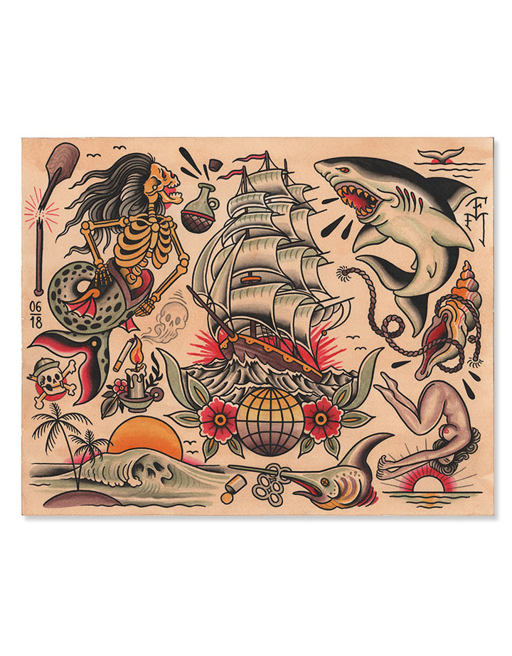 """Sea Flash"" - Falk Malisch - Beyond Tradition -Tattoo print"