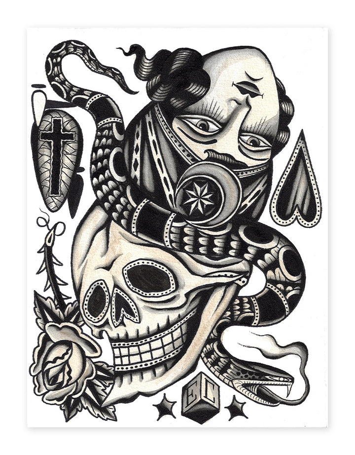 """Flip Heads"" - Erkan Keser - Beyond Tradition -Tattoo print"