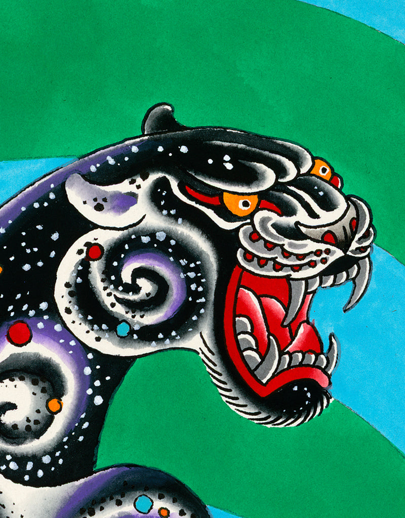 """Psychedelic Panther Blue"" - Flo Kraemer - Tattoo Art Print"