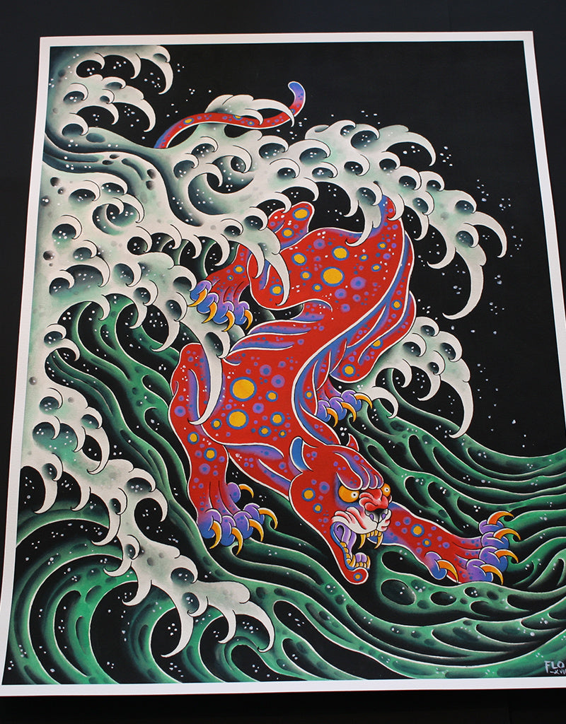 Psychadelic Panther - Flo Kraemer - Beyond Tradition -Tattoo print
