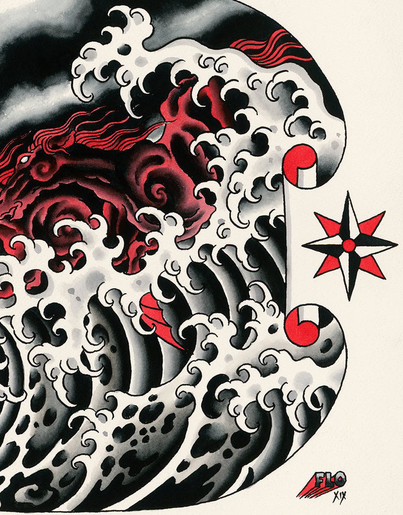 """Wave Riders"" - Flo Kraemer - Tattoo Art Print - Beyond Tradition -Tattoo print"