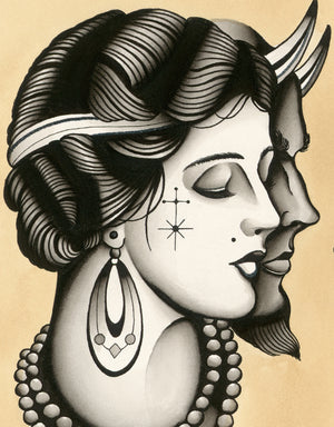 """Devil in Disguise"" - Lars Becker - Fine Art Tattoo Print - Beyond Tradition -Tattoo print"