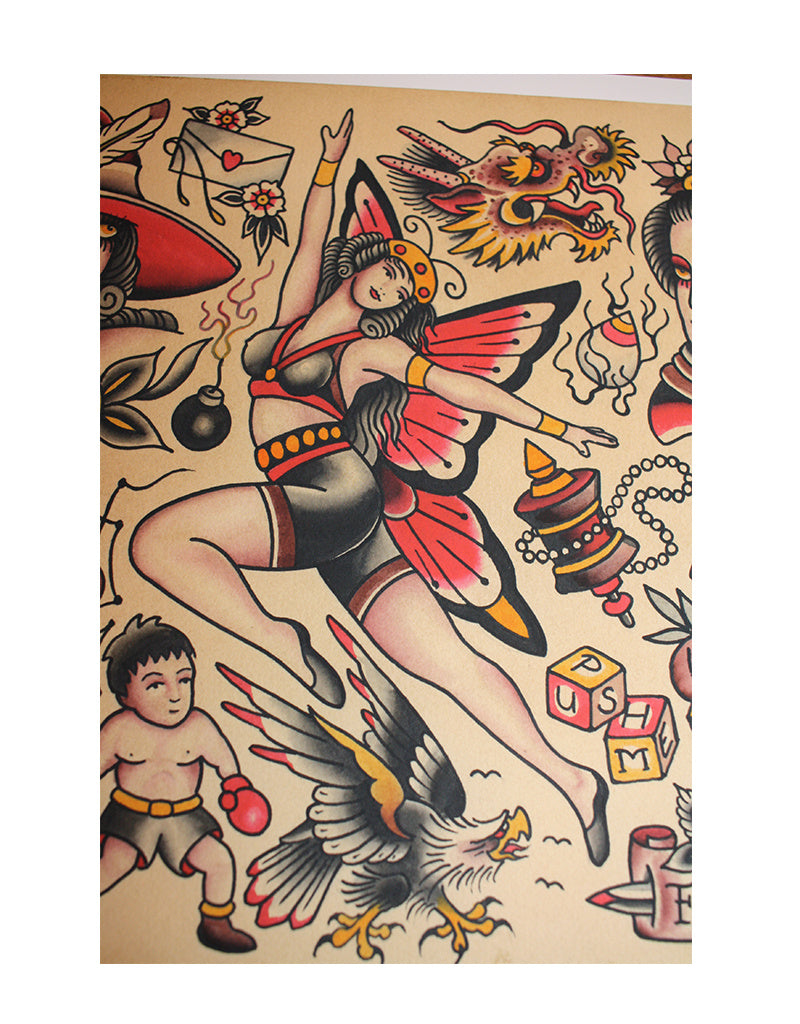 """All those beauties"" - Set of 4 Flash - Falk Malisch - Beyond Tradition -Tattoo print"