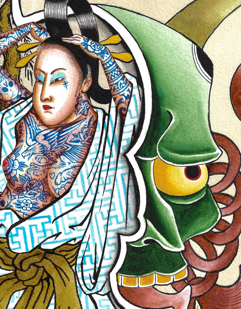 """Geisha"" - Erkan Keser - Beyond Tradition -Tattoo print"