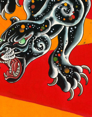 """Psychedelic Panther Red"" - Flo Kraemer - Tattoo Art Print - Beyond Tradition -Tattoo print"