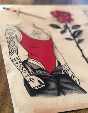 Black Red Elegance - Patryk Hilton - Beyond Tradition -Tattoo print