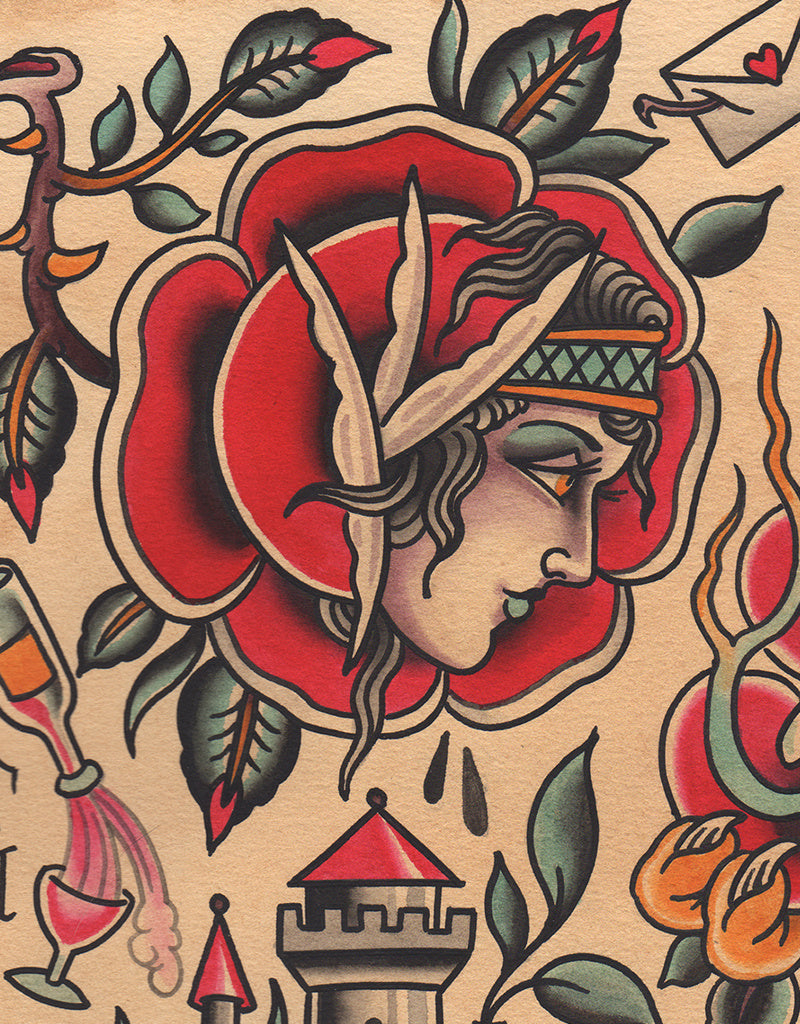 """Roses Flash"" - Falk Malisch - Beyond Tradition -Tattoo print"