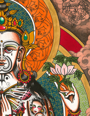 """Buddha"" - Adrian de la Fuente - Tattoo Art Print - Beyond Tradition -Tattoo print"