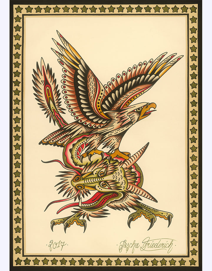 """Eagle & Dragon ""- Sascha Friederich - Beyond Tradition -Tattoo print"